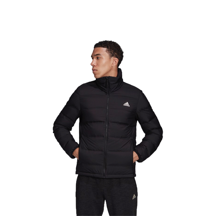 man wearing adidas helionic jacket