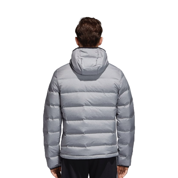 man wearing grey adidas helionic jacket