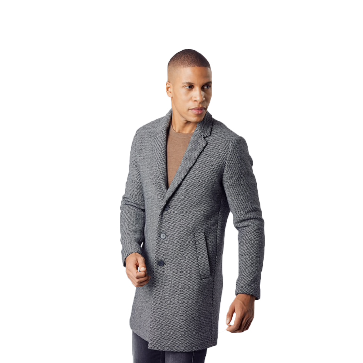 man wearing dark grey coat